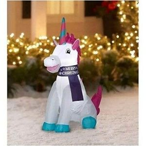 Christmas Inflatable Unicorn Lights Up Yard Decor